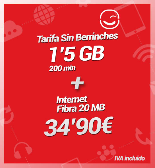Internet Fibra 20MB + Tarifa Sin Berrinches